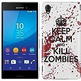 Etui de créateur pour Sony Xperia M4 Aqua - Etui / Coque / Housse de protection blanc en Plastique Rigide (arrière rigide) avec motif Keep Calm and Kill Zombies (blanc et rouge)