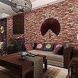 Ketian moderne tridimensionnel papier peint rouge Mur de brique en PVC papier peint 3d texturé briques pour le salon/TV Toile de fond murale/hôtel 0.53m (1.73'L) x 10m (32.8'l) =  (57Pieds carrés. FT)...