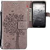CLM-Tech kompatibel mit Huawei Mate 10 Lite Hülle, Tasche aus Kunstleder, Baum Katze Schmetterlinge grau, PU Leder-Tasche für