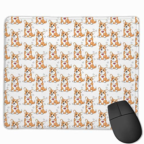 ASKSWF Mouse Pad Corgis Funny Dog Design Gaming Mouse Pad with Stitched Edges Personalized Design
