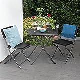 Park Alley Beistelltisch in schwarz - Eckiger Gartentisch in Rattanoptik - Kunststofftisch für Garten, Terrasse und Balkon geeignet - Bistrotisch mit Aluminiumgestell
