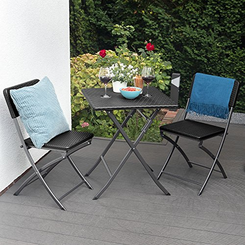 Park Alley Side Wood Optic Suitable for Garden, Terrace and Balcony, Bistro Table with Steel Frame, Brown, 61.5 x 61.5 x 73 cm