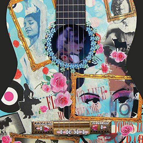 Apple iPhone 4 Housse Étui Silicone Coque Protection Guitare Art Flamenco Étui en cuir bleu marine