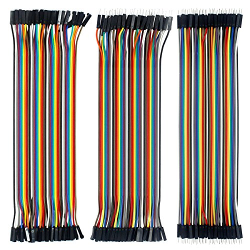 3 in 1 Kit Cavetti Jumper Filo Dupont Wire Cavi 40 Pezzi da M/F Maschio a Femmina, 40 Pezzi da Maschio a Maschio, 40 Pezzi da Femmina a Femmina per Arduino Uno Raspberry Pi -120pcs