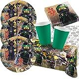 Amscan 37-Teiliges Party-Set Lego Ninjago - Teller Becher grün Servietten Tischdecke für 8 Kinder
