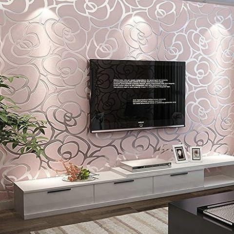BTJC Vliestapete Schlafzimmer Wohnzimmer TV Hintergrundbild wallpaper rosa Rosen Hochzeit Zimmer , pink