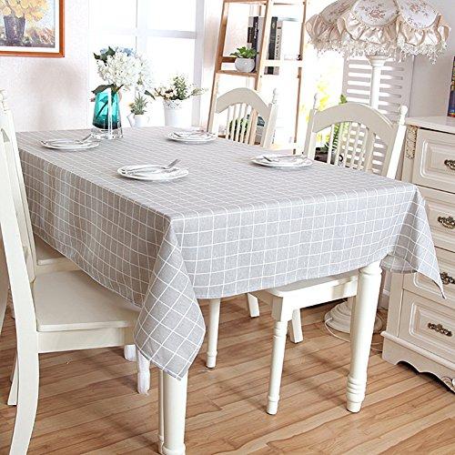 (Swallowuk Plaid Design Baumwolle und Leinen Tischdecke Tisch Cover Protector Geschirr Wohnzimmer Tisch decken Dekoration Party Picknick Matten (Grau, 140cm×220cm))