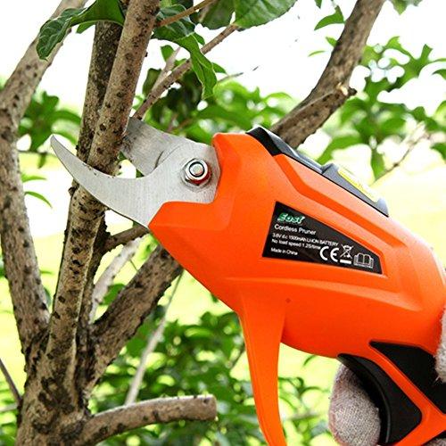 HomeYoo Forbici e cesoie per potatura, Professionale elettrico Forbici da giardino, wiederaufladbar Lopper prugna uva olive alberi elettrico cesoie , 3.6 V 1.5 AH 1.2S/Tempo 15 - 20 Min (Orange)