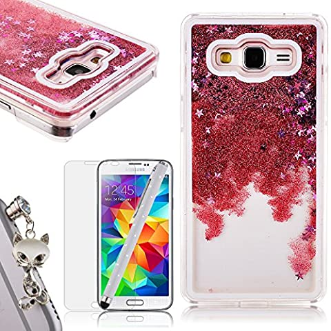 We Love Case Cristal Gliter Sparkle Coque pour Samsung Galaxy Grand Prime G530 Housse Etui 3D Flottant Liquide Sables Mouvant Stars Paillettes Etui PC Plastique Rigide Shell Housse de Protection Bumper Case Couverture Anti Scratch Shock Absorption 1x Animal Bouchon Anti-poussiere +1x HD Protecteur d