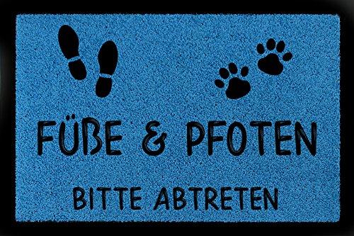 FUSSMATTE Türmatte FÜSSE & PFOTEN BITTE ABTRETEN Haustier Hund Katze Eingang Royalblau