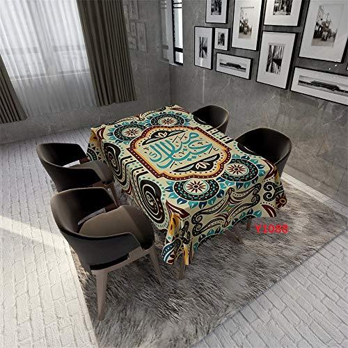 QWEASDZX Tischdecke Polyester National Style Digitaldruck Tischdecken Rechtecktisch Ölbeständige und wasserdichte Tischdecken Thema Geeignet für Innen und Außen 140x240cm