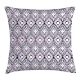 FAFANI Paisley Decor Throw Pillow Cushion Cover, Abstract Tribal Seamless Design with Ornamental Elements with Geometric Details, Decorative Square Accent Pillow Case, 18 X 18 Inches, Multi