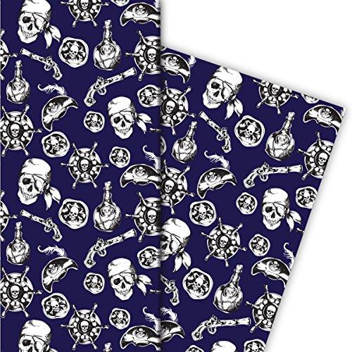 Cooles Piraten Geschenkpapier mit Totenkopf und Co, blau, für tolle Geschenk Verpackung und Überraschungen (4 Bogen, 32 x ()