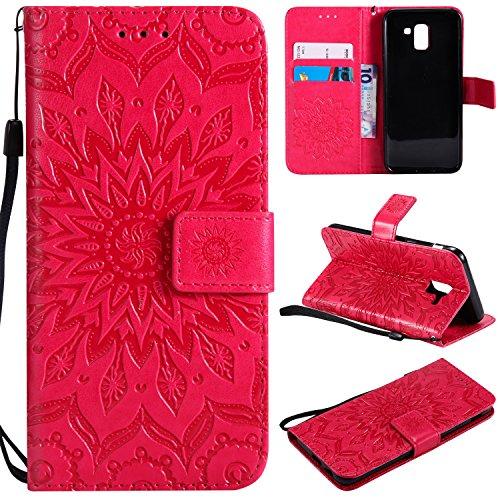 SMYTU Galaxy J6 2018 Hülle, Rot Wallet Case Cover Schutzhülle und Klapp Magnetisch Flip Bumper Ledertasche Schutzhülle für Samsung Galaxy J6 2018(Rot) -