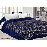 Handcraftd Double Bed Size Jaipuri Silk AC Quilt Razai Blanket, Dohar With Gold Prints Printed Double Bed Quilt/Comforter/AC Quilt/AC Comforter/Razai Winter Quilt, Jaipuri Razai