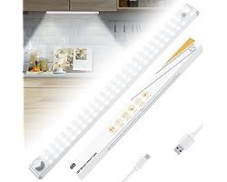 Racokky Portable Lampes 78LED, Sans Fil, Rechargeable par USB, Aimanté, Détecteur de Mouvement, 4 Modes d'Éclairage, Lumière