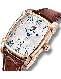 11f6b45cf6e8d Benyar Reloj analógico de cuarzo japonés para hombre con pulsera de cuero  ...
