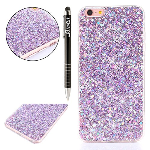 Custodia iPhone 6 Plus, iPhone 6S Plus Cover Glitter, SainCat Cover per iPhone 6/6S Plus Custodia Silicone Morbido, Custodia Bling Glitter 3D Design Transparent Silicone Case Ultra Slim Sottile Morbid Porpora