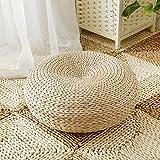 Japanischer Tatami-Boden-Kissen Zafu natürlicher Sitz, Handcrafted umweltfreundlicher Auflage gestrickter Binse-flacher Sitz-Kissen Stroh Futon-Kissen für Zen, Yoga