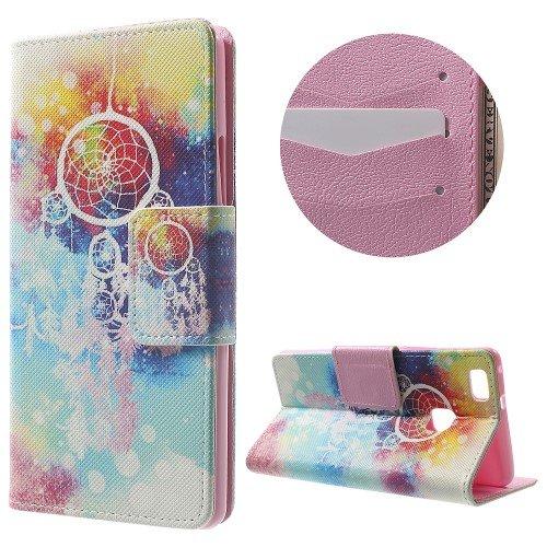 jbTec® Flip Case Handy-Hülle Book #N02 Mehrfarbig zu Huawei P9 Lite - Handy-Tasche Schutz-Hülle Cover Handyhülle Bookstyle Booklet, Motiv/Muster:Weißer Traumfänger F12, Modell:Huawei P9 Lite/Dual SIM