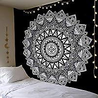 Dremisland Tapiz de Pared Mandala Bohemio Indio Tapicería de Hippie Colgante de Pared Blanco y Negro Tapestry Toalla de Playa Manta de Picnic Estera Tela Playa
