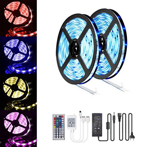 LED-Streifen 10M, 16 RGB-Farben LED Beleuchtung mit Fernbedienung Dimmen selbstklebend, IP65 Wasserfestes LED Lichterkette Inkl. 12V Driver und Eckverbinder, Verbindungskabel - Boden-lichtleisten