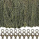 Ucatcher 39 Feet Curb Chain Necklace Bulk Cable Larghezza 2,5 mm con 30 fermagli per aragosta e 100 anelli per salto aperto per creazione di gioielli (Bronzo)