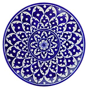 Aditya Blue Art Pottery Ceramic Decorative Wall Hanging Handmade Plate (20 cm x 20 cm x 3 cm, Blue)