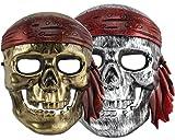 Piratenmaske Fasching Maske Pirat Skelett silber/gold Totenkopfmaske Karneval (Gold)