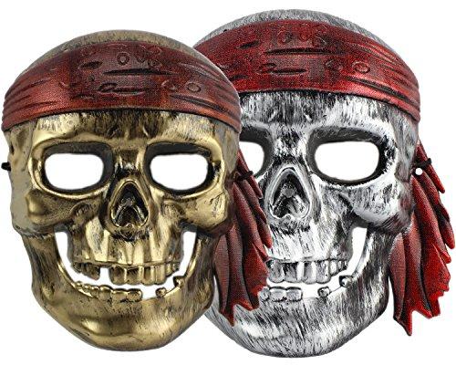 Piratenmaske Fasching Maske Pirat Skelett silber/gold Totenkopfmaske Karneval ()
