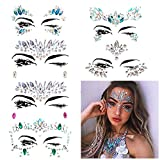 Umiwe 6 Stück Strass Juwelen Face Tattoo Sticker, Schmucksteine Kristall Glitzersteine Aufkleber Temporäre Stickers Glitter MAKE-UP für Party Festival Shows, Glitzer Effekt, Parties, Shows (Multicolor A1)