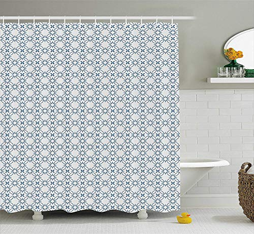 XIAOYI Geometric Shower Curtain, Complex Optical Illusional Design with Vertical Nested Squares Chevron Zigzags, Fabric Bathroom Decor Set with Hooks, 60W X 72L Inche Extra Long, Blue White -