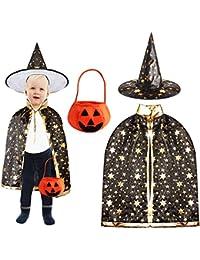 Outee Mantello Cappotto Capo della Strega Nero Costume di Halloween dei  Bambini Halloween Gioco di Ruolo del Capo e Cappello Pointy con Il… 64bc88ad5865