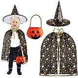 Outee Capa de Capa de Halloween Disfraz de Halloween Capa del Bruja Mago con Sombrero Calabaza Basket para Niños Niñas, Negro