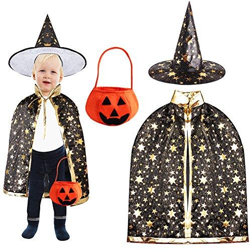 Outee Schwarz Wizard Witch Cloak Cape Robe Halloween Kostüm Halloween Rolle Spielen Cape und Pointy Hut mit Stereo Kürbis Korb für Halloween Party