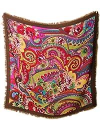 Prettystern - 105cm 100% carrés de laine ouverte (sergé) à franges en tissu - Paisley Imprimé cachemire et d'ornement coloré