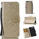 JiuRui Covers & Cases für Huawei Honor 9 Case gedrückt Horse Cloud Horizontal Flip Leder Wallet Pouch Case mit Kartensteckplätzen & Lanyard (Color : Gold)