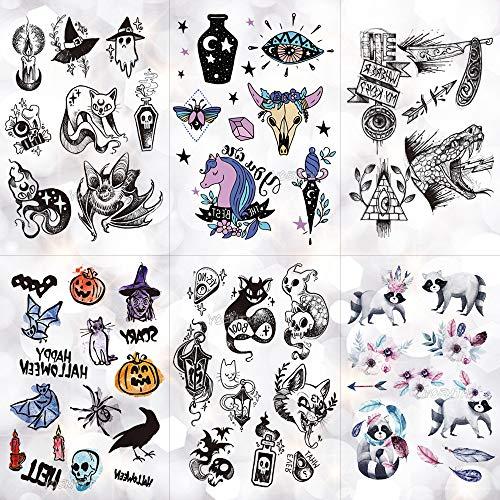 Temporäre Tattoo-Aufkleber Ghost Witch Candle Wasserdicht Temporäre Tätowierung Aufkleber Schädel Halloween Crow Old School Flash Tattoos Körperkunst Arm Gefälschte Tätowierung 20X14,8 Cm 6 Stück