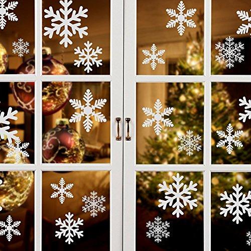 PfX 54 Schneeflocken Weihnachtsdeko Fensteraufkleber in Weiß - Statisch Haftend - Leicht zum anbringen ohne Kleber