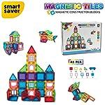 Smart Saver 3D Magnetic Magna-Tile for Kids – Set of 45 Blocks to Learn Shapes, Colors, & Alphabet – Magnetic Toys...