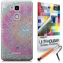 CASEiLIKE Arte de la mandala 2090 Bumper Prima Híbrido Duro Protección Case Cover Funda Cascara for Huawei Ascend Mate 7 +Protector de Pantalla +Plumas Stylus retráctil (Color al azar)