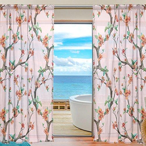 Sheer Voile Fenster Vorhang Cherry Floral bedrucktes Weiches Material für Schlafzimmer Wohnzimmer Küche Decor Home Tür Dekoration 2Felder 198,1x 139,7cm - Sheer Cherry