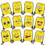 VEYLIN 12 Pack Enfants Emoji Cordonnet Sacs à Dos 16,5 x 13,3 Pouces Grande réutilisable Party Polyester Sacs pour Filles garçons Adultes de fête d'anniversaire Cadeaux Sacs de Remplissage