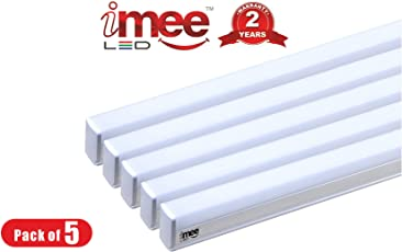 iMee 20W 2000 Lumens Aluminium Body T5 LED Tube Light 4000K (Warm White Light) Batten Length 4 Feets, with Fitting Clamps and Screws - Pack of 5