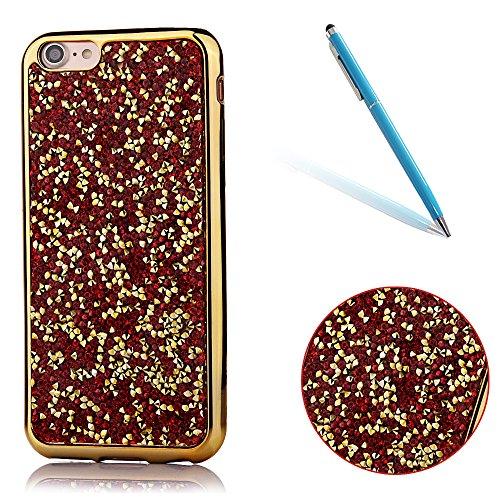 """iPhone 7 Hülle, Kristal Glitzer CLTPY iPhone 7 Ultradünne Glänzend Plating TPU Handytasche mit Sparkly Bling Diamant, Weich Stoßdämpfend Silikon Schale Fall für 4.7"""" Apple iPhone 7 + 1 x Stift - Weiß- Gold-Rot"""