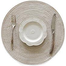 SODIAL estera familiar estera de aislamiento de ramio de ramina alfombra mantel redondo decoracion accesorios de cocina estera de casa (beige)