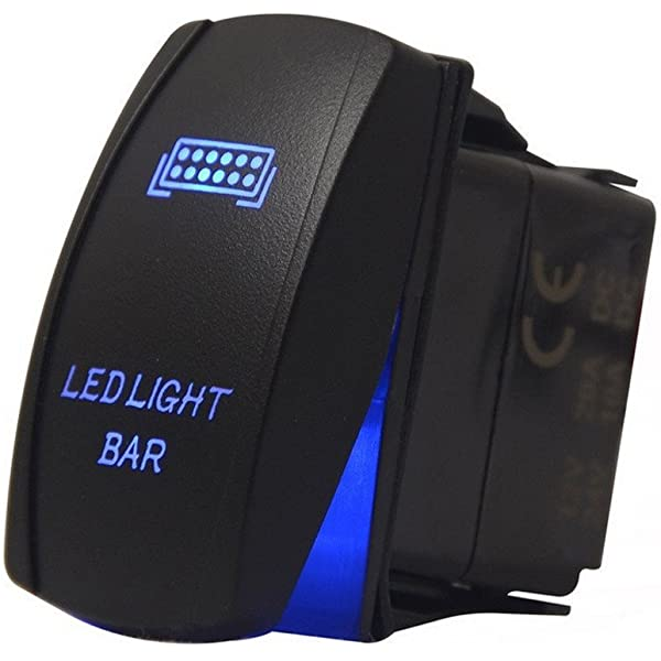 Supmico Car Auto 12V 20A 24V 10A Blue LED Light Lamp Rocker Toggle Switch 7Pin Winch in out Light