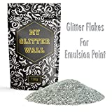 My Glitter Wall Purpurina para pintura de emulsión, 150 g, decoración de pared ideal para interior y exterior, color plata