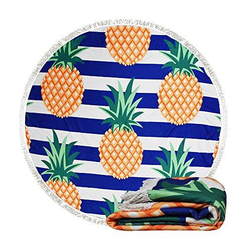 ANOLE Stranddecke Strandtuch Picknickdecke Campingdecke Yoga Mat Indische Wand Hängend Mandala Tapisserie Sonnenschutz Schal Schalldämpfer für Outdoor Sandstrand und Innendekoration 150cm (Mehrere Ananas)