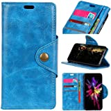HTC U12 Life Case, Danallc Luxury PU Leather Wallet Flip Protective Stand Case Cover With Card Slots And Stand For HTC U12 Life Blue